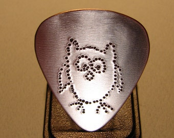 Guitar Pick Handmade from Copper with a Big Hoot