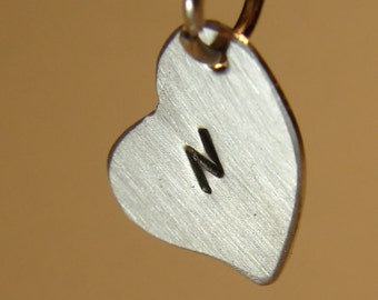 silver heart charm with personalized monogram sterling
