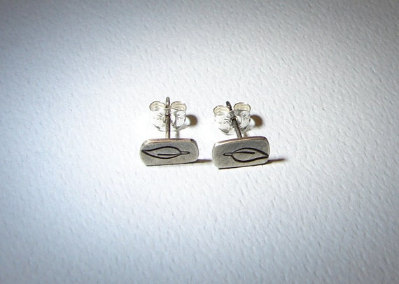 Sterling Silver Stud Earrings with Leaf Design and Patina