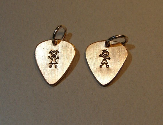 Guitar pick charm set handmade from bronze with boy and girl stamps