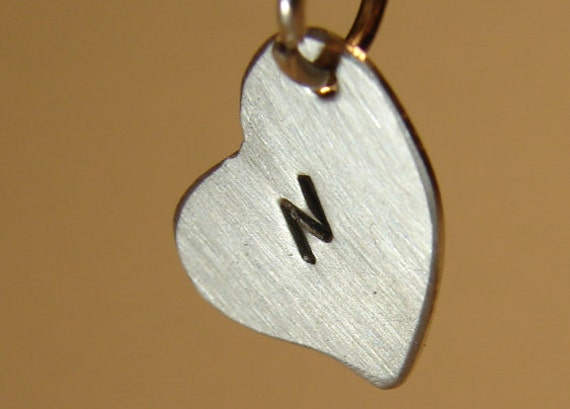 Sterling silver heart charm with personalized monogram