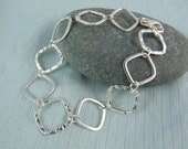 Sterling Silver Bracelet with Hammered and Smooth Chain Links