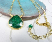 Emerald Necklace with a Genuine Large Emerald Set in a Gold Vermeil Bezel, Gold Vermeil Chain