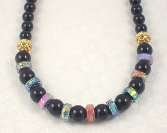 Handmade Rainbow Dichroic Glass and Black Onyx Necklace 17 Inch