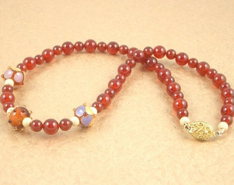 Lampwork Glass and Burnt Orange Carnelian Gemstone Choker Necklace