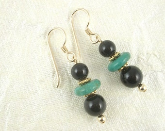 Black Onyx and Turquoise Earrings