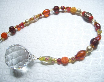 Faceted Lead Crystal Rainbow Prism Suncatcher with Red, Orange, Yellow, and Gold Glass Beads - You Are My Sunshine