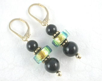 Shimmering Gold and Teal Dichroic Glass and Black Onyx Earrings on Gold Leverback Ear Wires
