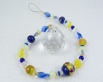Rainbow Prism Beaded Suncatcher - Royal Blue and Sunshine Yellow