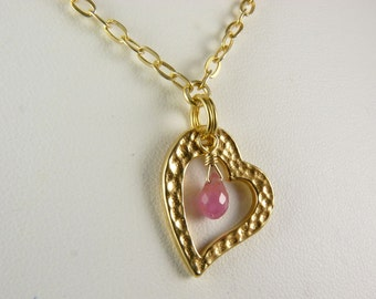 Pink Sapphire and Gold Vermeil Heart Pendant Necklace