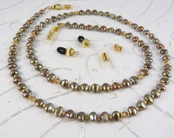 Freshwater Pearl and Swarovski Crystal Eyeglass Chain with Extra Ends - Antique Gold