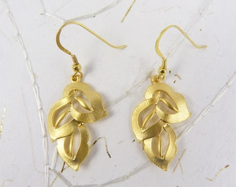 Gold Leaf Dangle Earrings with Brushed Gold Triple Leaf Clusters