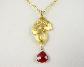 Gold and Ruby Necklace - Brushed Gold Triple Leaf Pendant Necklace with Genuine Ruby Heart Briolette