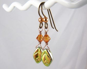 Glass Earrings with Iridescent Coppery Green Glass Leaves and Swarovski Crystals on Hypoallergenic Copper Niobium Ear Wires