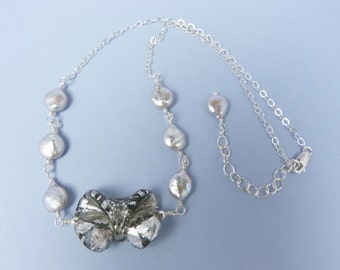 Lampwork Silver Glass Bow, Silver Coin Pearl, and Sterling Silver Adjustable Length Necklace
