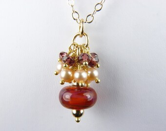 Boro Lampwork Glass and Pearl Necklace with Faceted Garnets, Natural Peach Pearls, and Gold - Peach Melba