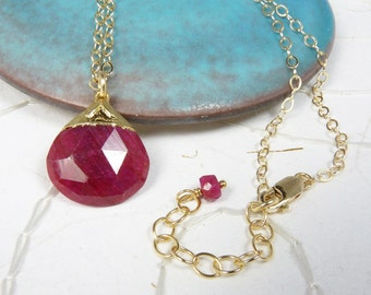 Ruby Necklace with a Genuine Faceted Raspberry Red Ruby, Adjustable Length Gold Chain
