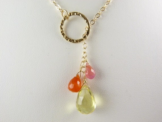 Lemon Quartz, Pink Sapphire, and Carnelian Lariat Necklace with 14K Gold Fill Chain