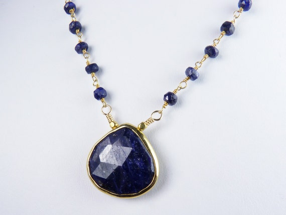 Blue Sapphire Necklace with Large Genuine Sapphire Bezel Set  in Gold Vermeil with a Rosary Style Wire Wrapped Sapphire and Vermeil Chain