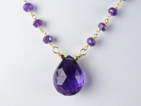 Purple Amethyst Necklace with Large Faceted African Amethyst on a Rosary Style Amethyst and Gold Vermeil Chain