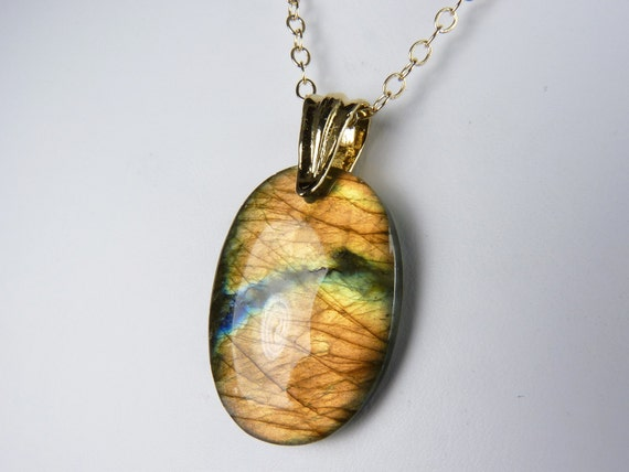 Labradorite Necklace, Labradorite Pendant with Fiery Gold and Copper Flash on a Gold Chain - Fire Glow