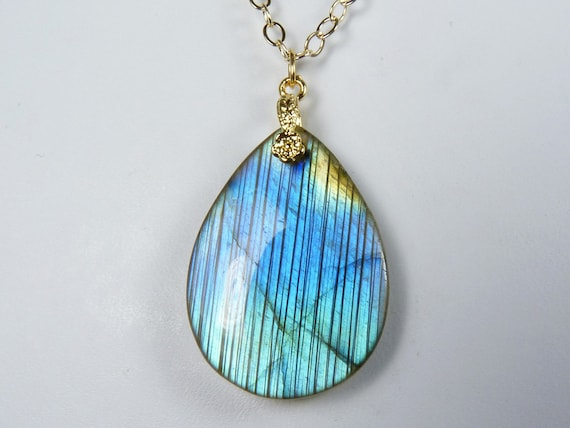 Reserved for Ann: Labradorite Necklace, Labradorite Pendant with Glowing Blue, Aqua, and Gold Flash on a Gold Chain