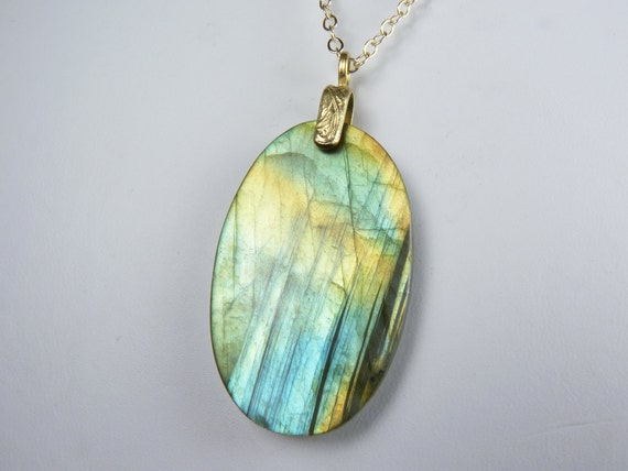 Labradorite Necklace, LARGE Labradorite Pendant with Shimmering Aqua, Gold,  Copper, and Green Iridescence on a Gold Chain