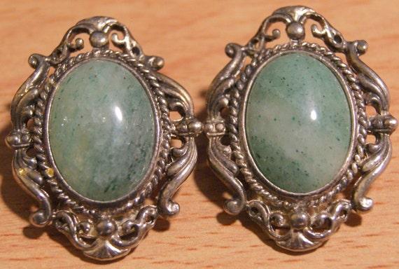Vintage Fancy Light Green Cabochon Earrings Mad Men