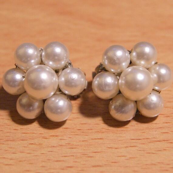 Vintage Faux Pearl Cluster Earrings Mad Men