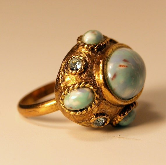 Vintage Domed Chunky Ring with Blue Cabochons and Rhinestones
