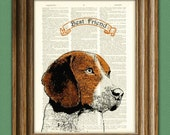BEAGLE dog beautifully upcycled vintage dictionary page book art print PERSONALIZED