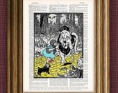Wizard of Oz Yellow Brick Road beautifully upcycled vintage dictionary page book art print
