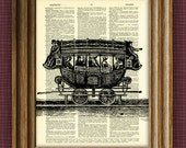 TRAIN RAILWAY CAR Carriage beautifully upcycled vintage dictionary page book art print