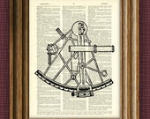 SEXTANT illustration beautifully upcycled dictionary page book art print