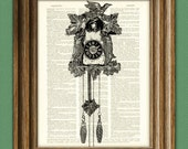 CUCKOO CLOCK awesome upcycled vintage dictionary page book art print