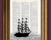 Tallship boat print over dictionary page book art print