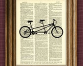 TANDEM BICYCLE built for two Art Print beautifully upcycled vintage dictionary page book art print