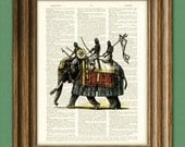 Off to war ELEPHANT WARRIORS altered art dictionary page illustration book print