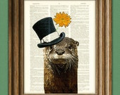 The River Gentleman OTTER with a top hat and flower illustration beautifully upcycled dictionary page book art print Buy 3 get 1 Free