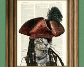 Cat Sparrow Swashbuckling PIRATE KITTY illustration beautifully upcycled dictionary page book art print
