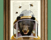 Beekeeper Bear illustration beautifully upcycled dictionary page book art print