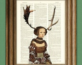 Woodlands Antler Girl illustration beautifully upcycled dictionary page book art print