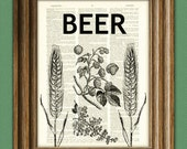Hops, Barley, and Beer beautifully upcycled dictionary page book art print