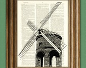 Serene WINDMILL awesome upcycled vintage dictionary page book art print