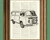 Vintage VW BUS van beautifully upcycled vintage dictionary page book art print