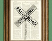 Cool RAILROAD CROSSING sign Train beautifully upcycled vintage dictionary page book art print