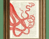 Sea Monster Art Print Red Tentacles llustration beautifully upcycled dictionary page book art print