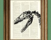 EEEK Velociraptor dinosaur skeleton skull beautifully upcycled history animal dictionary page book art print