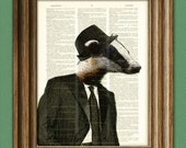 Lenny the Zoot Suit Badger Mobster with hat illustration beautifully upcycled dictionary page book art print