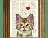 I LOVE YOU Kitten kitty cat beautifully upcycled vintage dictionary page book art print